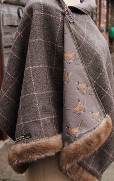 Harris tweed pheasant & faux fur wrap tejidos y textiles оде Countryside Fashion, Country Fashion, Country Outfits, Sewing Clothes, Diy Clothes, Tartan, Plaid, Tweed Run, Faux Fur Wrap