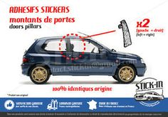 Renault Clio Williams 16 S V Montants Portes Doors Pillars Stickers Autocollants | eBay