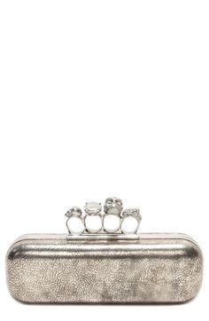 Such an iconic clutch! Love the addition of Swarovski crystals to this Alexander McQueen piece.