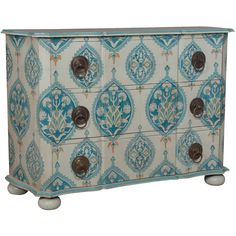 Guildmaster 642015 Duchess Hand-Painted Chest in Blue Floral Hand Painted Dressers, Painted Drawers, Painted Chest, Metal Drawers, Painted Furniture, Patterned Furniture, Chest Furniture, Furniture Decor, Bedroom Furniture