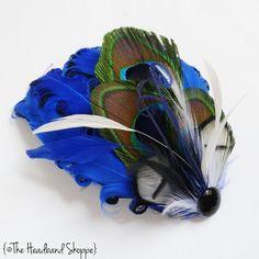 Royal Blue Peacock Feather Fascinator  REAGAN by TheHeadbandShoppe