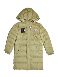 GUESS Boy's Down Puffer Coat (7-18). Shell: 56% Polyester, 34% Cotton. 10% Polyamide. Lining: 100% Polyester. Filling: 70% White Duck Down, 30% Feather. Machine wash.