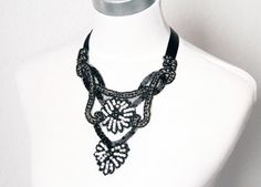 The Great Gatsby Silver Black Statement Necklace - Art Deco Flapper Girl