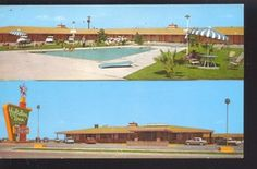 1950's CARS AUSTIN TEXAS HOLIDAY INN VINTAGE ADVERTISING POSTCARD MOTEL AUTOS