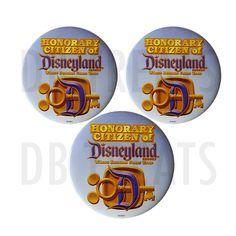 "Honorary Citizen of Disneyland 3"" Button Pin Disney Parks Souvenir"