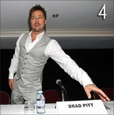 Brock's look! Grey pants and vest (w/ tie though). *yes he will look just like brad pitt :)