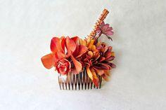 Autumn Flowers Hair Comb. Deep Burnt Orange + Copper Handmade Fascinator Clip w Pearls, Silk Flowers. Rustic Garden Wedding Hair Accessories by PiggleAndPop on Etsy https://www.etsy.com/listing/245410085/autumn-flowers-hair-comb-deep-burnt