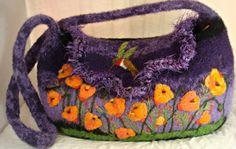 Felted purse, Felted handbag, Poppy Art, poppies, Flower art, California Poppies