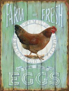 Barnyard Designs Farm Fresh Free Range Eggs Retro Vintage Tin Bar Sign Country Home Decor 10 x 13 * You could get extra details at the image link. (This is an affiliate link). Vintage Signs, Retro Vintage, Vintage Style, Vintage Posters, Motifs Animal, Chicken Art, Fresh Chicken, Pollo Chicken, Chicken Club