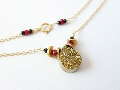 Gold Titanium Druzy Goldfilled Necklace by KatKDesigns on Etsy, $40.00