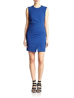 L'AGENCE Asymmetrical Ruched Stretch Jersey Dress