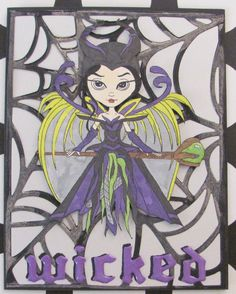 I just listed Wicked Witch Halloween greeting card A2 handmade spooky shimmery…