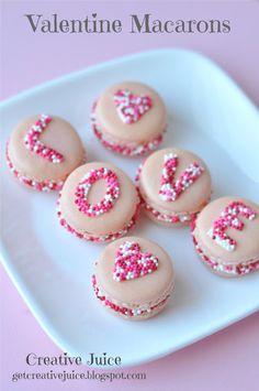 {TUTORIAL} Valentine's Day LOVE sprinkle macarons | Valentine Macarons