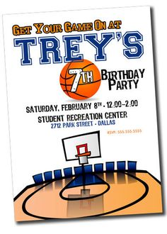 Basketball Sports Birthday Party Invitation PRINTABLE By Khudd 1000