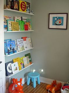 Try bottom shelves like this for easy access, change books regularly, ones above standard shelf coziness Ikea Baby Room, Nursery Room, Kids Bedroom, Baby Playroom, Play Spaces, Kid Spaces, Toy Rooms, Reading Nook, Room Inspiration