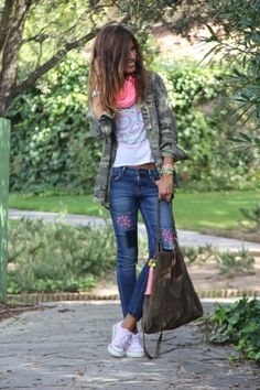 Love the combination esp tshirt and camo, pink converse, pops of neon in scarf and bracelets (don't like studs on jeans though)