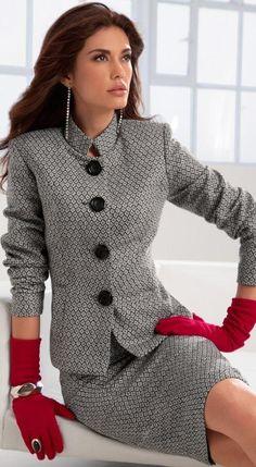 Red gloves.  Grey fall outfit. Winter wear. Winter office wear