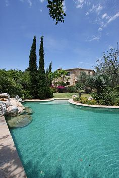 This pool (with waterfall and jacuzzi) is situated in large Mediterranean gardens complete with citrus grove....Also find a 5 bedroom #villa & cute #casita attached! #holidayrental #villarental #villa #pool #Majorca #Pollensa #Spain #BalearicIslands