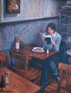 Reading and Art: Keith Larson - A page turner Reading Art, Woman Reading, Reading Time, Reading Books, I Love Books, Good Books, Arte Van Gogh, Portrait Studio, Illustration Art