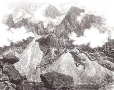 """Paul L. Kershaw (1949- ) """"Coire Lagan"""" wood engraving. Signed, titled and numbered 46/95. 125 X 155 mm."""