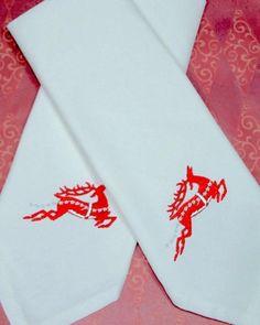Reindeer Christmas Embroidered Cloth Napkins - Set of 4 napkins