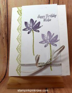 Stampin' Up! Birthday card made with Avant Garden, Delicate Details stamp set and designed by Demo Pamela Sadler. See more cards at stampinkrose.com #stampinkpinkrose #etsycardstrulyheart