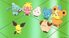 baby pokemon: wynaut, smoochum, igglybuff, azurill, teddiursa, cleffa and pichu