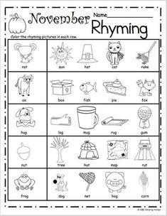 Kindergarten Rhyming Worksheets for February | Kindergarten February ...