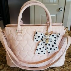 Cutest Betsey Johnson Purse Ever! Pink quilted heart patterns.  Signature markings and tags. 11x10x5.  Good larger medium size. Had satchel straps and shoulder straps. Betsey Johnson Bags Shoulder Bags