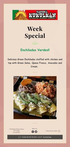 Delicious Green Enchiladas stuffed with chicken and top with Green Salsa, Queso Fresco, Avocados and Cream. Green Salsa, Enchiladas, Avocado, Beef, Events, Chicken, Food, Meat, Happenings