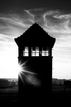 One of the watchtowers at the Auschwitz II-Birkenau site.