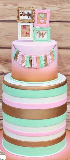 Shabby Chic/Rustic Glam Baby Shower Cake... Pink, gold and mint.