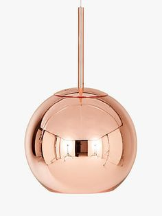 Tom Dixon Copper Round Ceiling Light, Dia.25cm at John Lewis & Partners