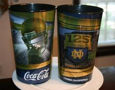 Pair Two 2 NOTRE DAME IRISH FOOTBALL Drinking soda/beer CUPS-125 years-FREE SHIP