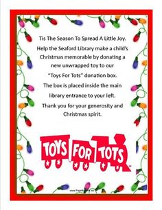 Toys for Tots You can make a difference.Partnering with US Marine Corp. Donate your unwrapped toys at the Seaford Library. Toys will be given to families in need. 600 N Market ST EXT. Seaford, Delaware 19973