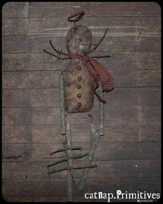 primitive snow angel doll ~ catnap*primitives
