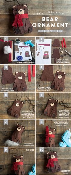 Christmas Bear Ornament felt bear stuffed ornament or gift topper // A great gift for a Baylor Bear!felt bear stuffed ornament or gift topper // A great gift for a Baylor Bear! Felt Christmas Ornaments, Christmas Fun, Christmas Decorations, Gnome Ornaments, Diy Weihnachten, Felt Diy, Felt Crafts Diy, Decor Crafts, Felt Animals