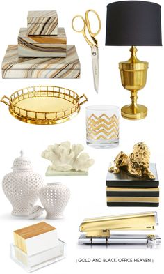 Chic Home Office Inspiration – Chic Home Office Design Gold Office Decor, Office Table, Gold Office Supplies, Desk Supplies, Table Design, Black Desk, Black Office, Black White Gold, Black Gold Decor