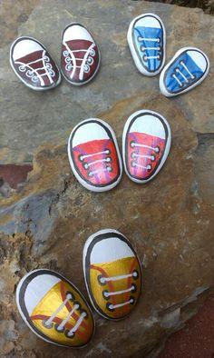 Sneaker painted rocks