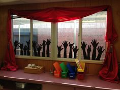 Classroom window art. Rock and roll. - have some of the hands hooks for a pirate classroom.