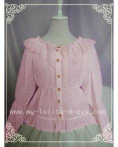 Pink is the BIG love!!!Spring Lyrics Le Printemps Long Sleeves Chiffon Lolita Blouse #lolita  #blouse  #spring  #pink