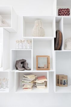 Idea!! Stack wooden crates in arrangement on empty livig room wall for decoration and shelving!!