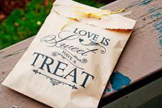 Brown Paper Favor Bags - Wedding Cookie or Treat Bag - Love is Sweet Style - 25 Bags on Etsy, $20.00