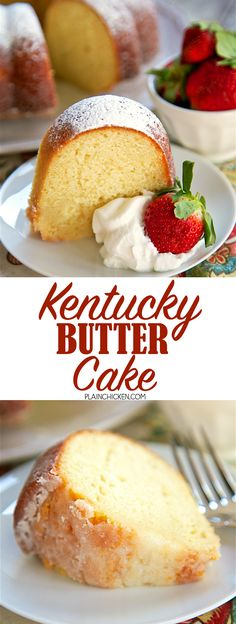 Kentucky Butter Cake - amazing homemade pound cake recipe! SO delicious!!! The cake is soaked with a butter sauce that makes the cake so moist and gives it a nice crust on the outside. Will keep for days although it didn't last that long at our house! CRAZY good!