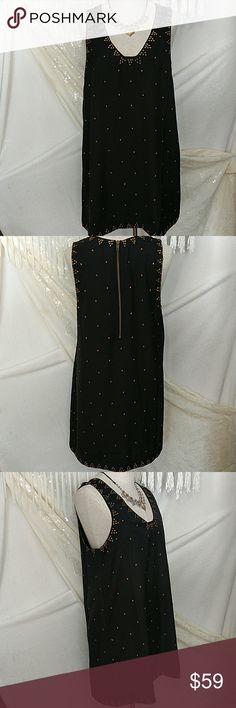 """NWT!  Free People SoHo Studded Shift Dress  Little black dress with attitude!  Structured neckline w/cute heart-shaped studs throughout.  Exposed back zipper closure.  Fully lined.  100% polyester/lining is 100% rayon.  Hand wash cold.  Length:. Approx 33"""" (shoulder to hem). Free People Dresses Mini"""