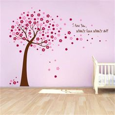Cherry Blossom pink Flower Tree PVC Wall decals decor quotes diy 9026G. kids baby nursery stickers Home decor