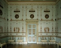 A wall of the Etruscan Dressing Room at Osterley, decorated like a neo-classical print room and painted with maidens dancing round tripods which are framed within arabesque arches. Picture Frame Arrangements, Park Homes, Neoclassical, Arabesque, Dressing Room, Designer Wallpaper, Decoration, Interior Inspiration, Picture Frames