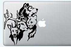 Forest animals decal, laptop sticker, laptop decal, cute animals, macbook decal, vinyl sticker