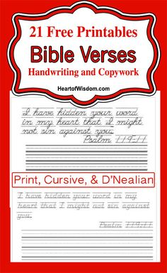 FREE Printable Bible Verses for Copywork/Handwriting from Heart of Wisdom