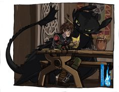 Hiccup and toothless by Alasya